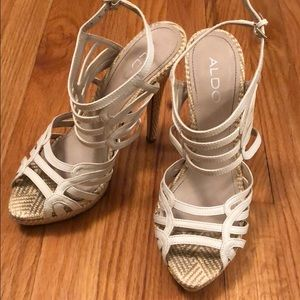 White caged Aldo heels